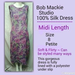 EUC - Bob Mackie Silk Floral Dress