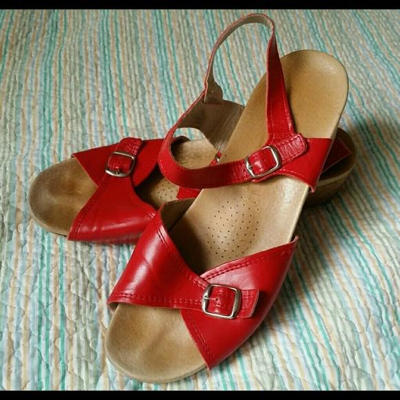 Sz 42 10 Red Worishofer Ankle Strap Sandals 711 SVUpGMqz