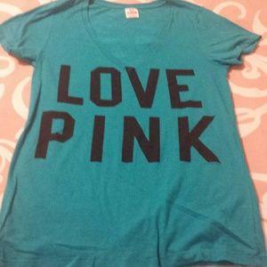 VS Pink shirt turquoise