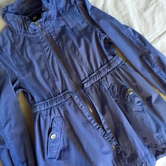 H&M Jackets & Blazers - Dark Periwinkle H&M Utility Coat Size 12