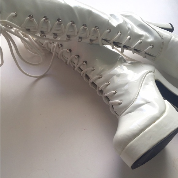 73% off Vintage Shoes - White lace up patent leather Gogo boots ...
