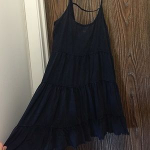 Spaghetti strap, black distressed mini dress
