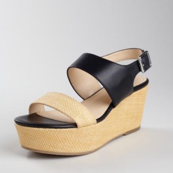 7d60f76472 Calvin Klein Shoes - Calvin Klein lorianne black leather & khaki wedge