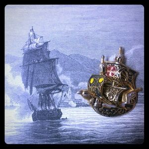 Vintage Jewelry - Vintage Damascene Sailing Ship Brooch Pin