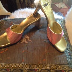 Casadei Shoes - Casadeii!!! Gorgeous fabric pink and gold slide