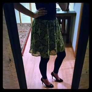 Mossimo green and black flowy skirt