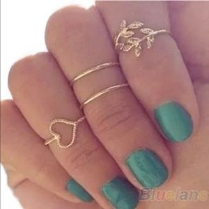 Set 4 gold plated knuckle rings