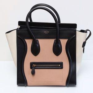 celine mini luggage tote black