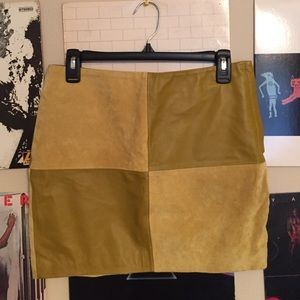 100% Leather Patchwork Skirt