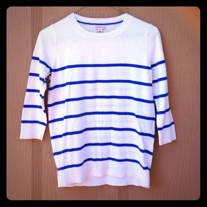 Blue and off white striped half sleeve top