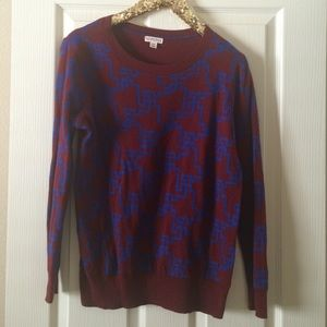 Merona Sweaters - Burgundy patterned long sleeve sweater