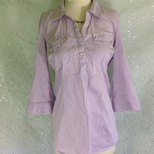 Motherhood Maternity Lavender Striped Medium Top