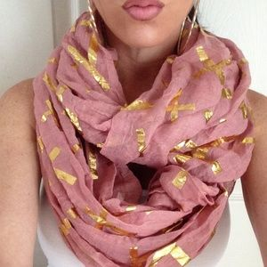 Kristee P Accessories - Salmon colored Cross Accented Infinity Scarf
