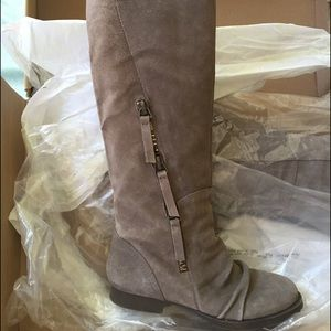 New Nine West Dark Taupe Size 6 Suede Riding Boots