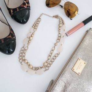 Gold Double Chain & Stone Statement Necklace