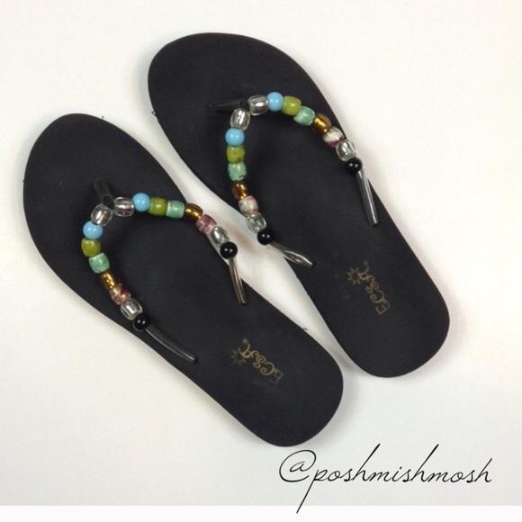 55fb12028a0706 Ecsa Shoes - Ecsa Black Beaded Flip Flops