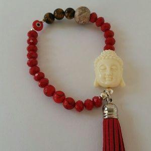 Buddha bracelet. Tiger's Eye. Howlita stone.