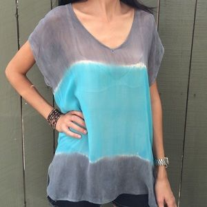 Gypsy 05 Tops - Gypsy 05 blue and gray tie dye sheer tunic top!