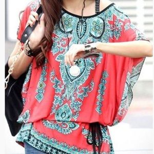 Coral and turquoise 🎏 printed boho tunic