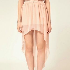 60 dresses skirts pink high low chiffon dress