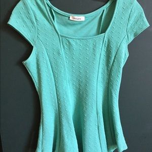 Mint Short Sleeve Fit and Flare Top