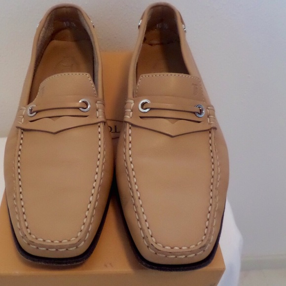 TODS Tan Leather Square Toe Buckle Loafer Sz 10.5.  M 561ee883d3a2a7ebc50002a6 fc5448694