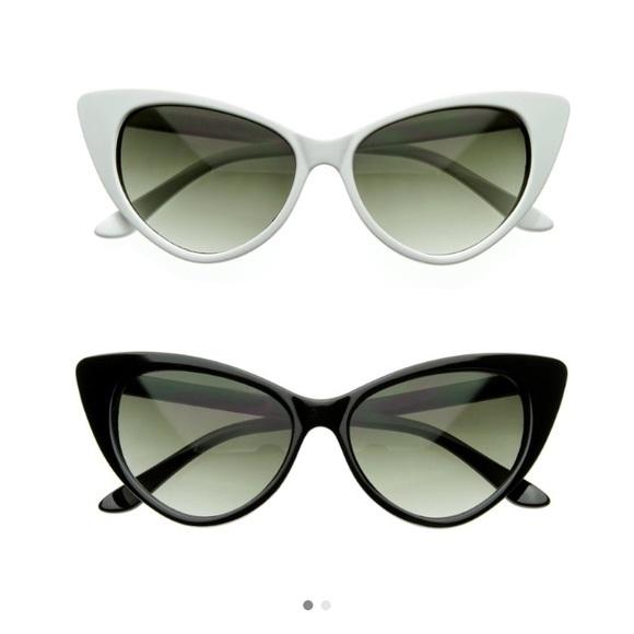 8f68d8de7d White Vintage Cat Eye Sunglasses