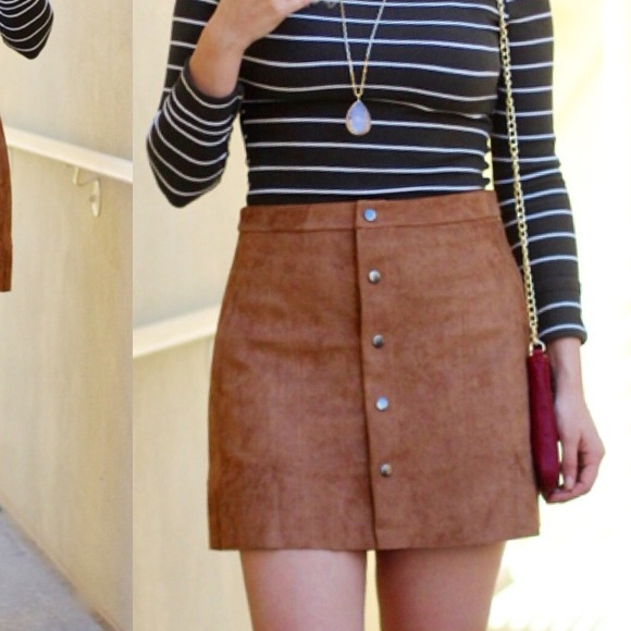 Lush - Lush clothing brown suede skirt with buttons from Elle's ...