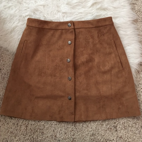 Lush - SOLD clothing brown suede skirt with buttons from Elle's ...