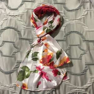 Scarf with Flower Designs & Silver Accents