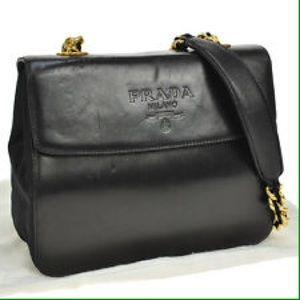 prada saffiano wallet white - 96% off Prada Handbags - Vintage Prada chain leather shoulder bag ...