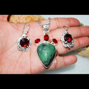 Ruby Zoisite & Garnet Color Glass Beads Set