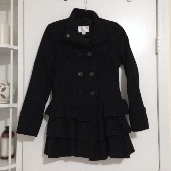 84% off Xhilaration Jackets & Blazers - Black Ruffle Pea Coat from ...