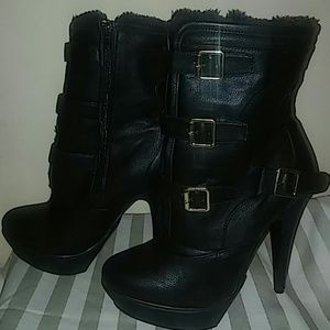 Leather Black Fur Boots with Gold Buckles