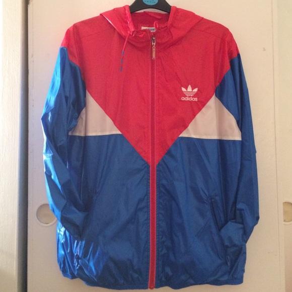 Adidas Jackets Coats Red White Blue Windbreaker Poshmark