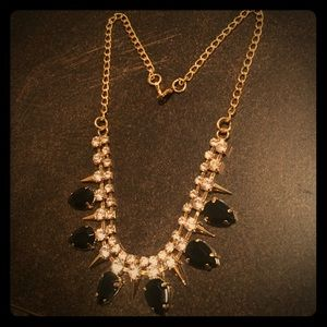 Macy's Jewelry - NEW gold statement necklace black, diamonds adjust