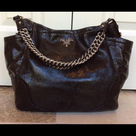 994e7f1239e7c8 Prada Cervo Lux Handbag in Ebano *Authentic*. M_561fb0c86d64bc035a004b0d