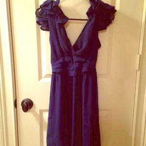🎉🎈HP🎈🎉 Lush navy rosettes chiffon dress NWT