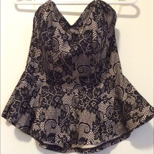 Lace print peplum top