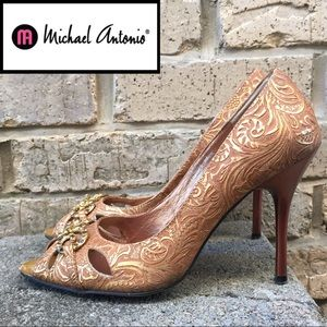 ✔️Michael Antonio Copper Peep Toe Heels Size 7