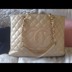 Authentic Chanel beige GST shopper tote gold HW