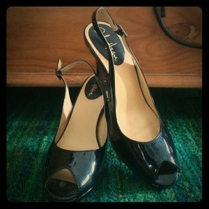 Cole Haan patent black peep toe pumps