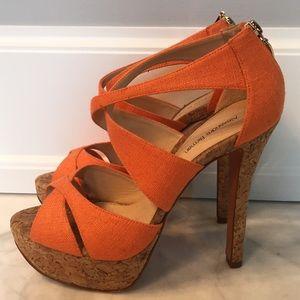 Alexandre Birman Shoes - Alexandre Birman Orange Cork-platform Strappy Heel