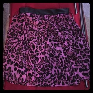 NWOT Pink and Black leopard pleated skirt