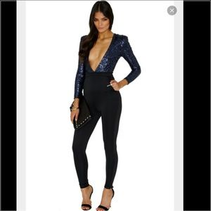 Deneisha Sequin V neck jumpsuit in navy