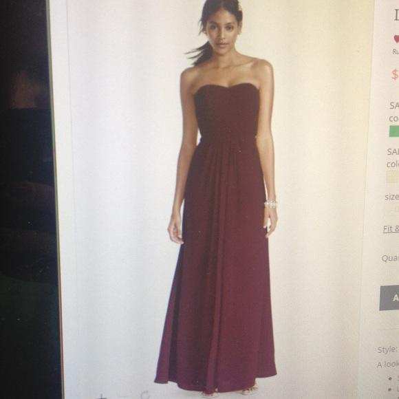 Davids Bridal Dresses | Strapless Wine Colored Bridesmaid Dress ...