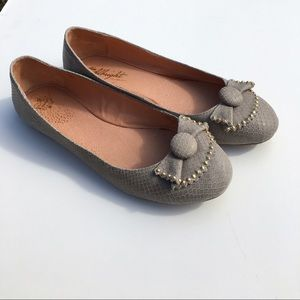 Anthropologie Shoes - Miss Albright Gray Snakeskin Bow Studs Flats 9.5