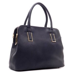 Handbags - Navy Blue DOUBLE ZIP TOP Pebbled Faux Leather