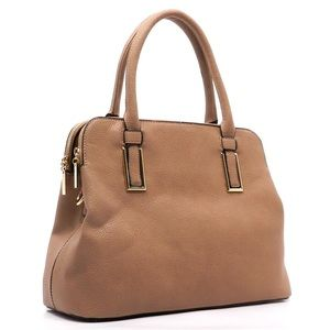 Handbags - STONE colored, double zipper satchel.