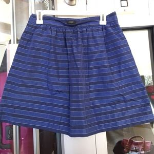 J crew blue striped skirt